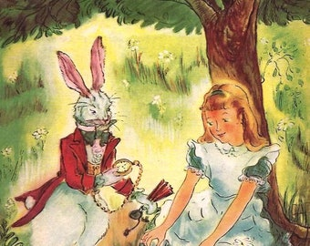 Lewis Carroll ALICE IN WONDERLAND 1947, hardcover, color illustrated by Marjorie Collison