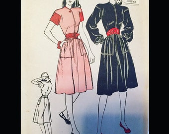 Vintage 40s Casual Dirndl Short Bishop Sleeve Day Dress Sewing Pattern 3847 B32