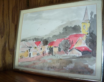 Vintage Watercolor Painting Framed Village Church Italy European Country Mountains Handmade Wall Art 1978