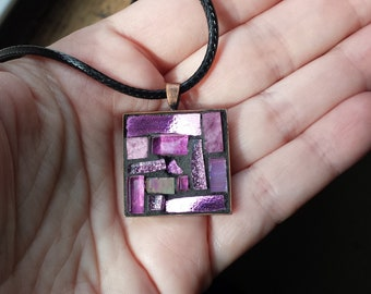 Hot Pink Mosaic Pendant with Copper Bezel