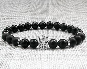 Mens stack bracelets mens bead bracelets Men bracelets Crown bracelets King bracelet Mens jewellery gifts|for|him gifts|for|dad bracelet