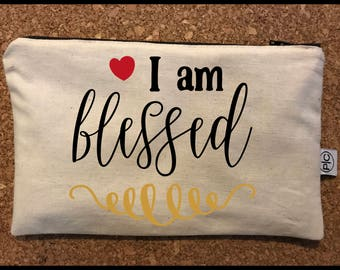 I am Blessed Zipper Pouch Bag