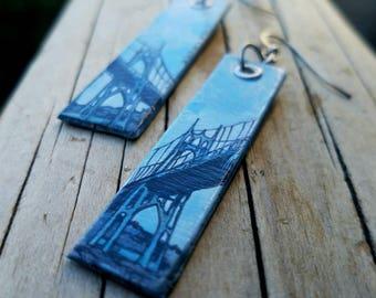 St Johns Bridge - pdx hand-painted long earrings - Portland, Oregon