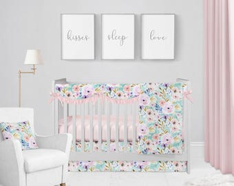 Willow Blooms Ruffle Crib Bedding Set. Baby Bedding. Floral Baby Bedding. Baby Shower Gift. Watercolor Floral Bedding.