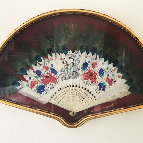 Vintage White & Peacock Feather Fan In Custom Michelson's Shadow Box Frame