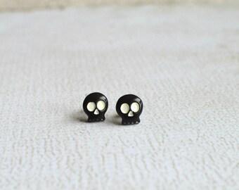 Cute Skull Earrings- Black and White Skull Studs with Titanium Posts- Tiny Skull Earrings- Skull Jewelry- Hypoallergenic Skeleton Earrings