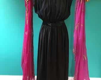 Vintage Grecian black sequin detail dress
