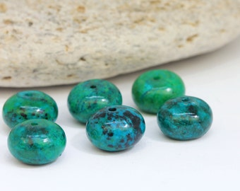 Large Crysocolla Rondelle Beads  12 x 8 Turquoise Green Blue Gemstone Beads Crysocolla Beads Crysocolla Rondelles Rustic 4 beads set