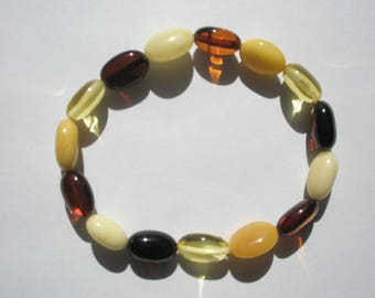 "Genuine Baltic Mixed Amber Oval Beads - 8-9x12-13mm - 7.5"" Strand/Bracelet"