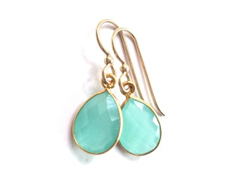 Aqua Chalcedony, Aqua Chalcedony Earrings, Aqua Chalcedony Gold Earring, Gold Earrings, Delicate