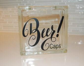 Glass Block, Beer Cap Holder, Pop Top Holder