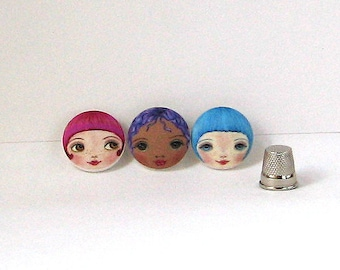 Doll making supplies, Face Buttons, Tiny Doll Faces, Unusual Buttons, Sewing Notions, Covered Buttons, Handmade Buttons