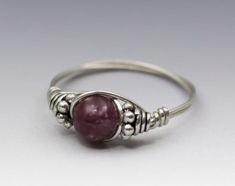 Lepidolite Gem Bali Sterling Silver Wire Wrapped Bead Ring - Made to Order, Ships Fast!