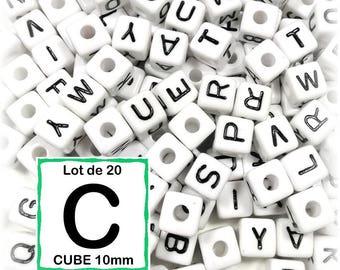 "20 beads 10 mm - 10mm cube letter beads alphabet ""C"""