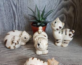 Cat figurine, ceramic cat, pottery cat, cat sculpture, white cat, cat gift, figurine, vintage cat figurine, set of cat,
