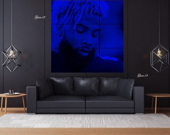 Odell Beckham Jr OBJ Electric Blue 5.2 ft x 5.2 ft 9-Panel 20 x 20 Grid Canvas Tiles NY Giants Gmen Portrait Photo Wall Art Made to Order