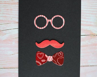 PERSONALIZED MOUSTACHE and Bow Tie Card, Handmade Cards, Greeting Cards, Valentines Day Card, Hello Cards, Funny Card, Every Occasion Card