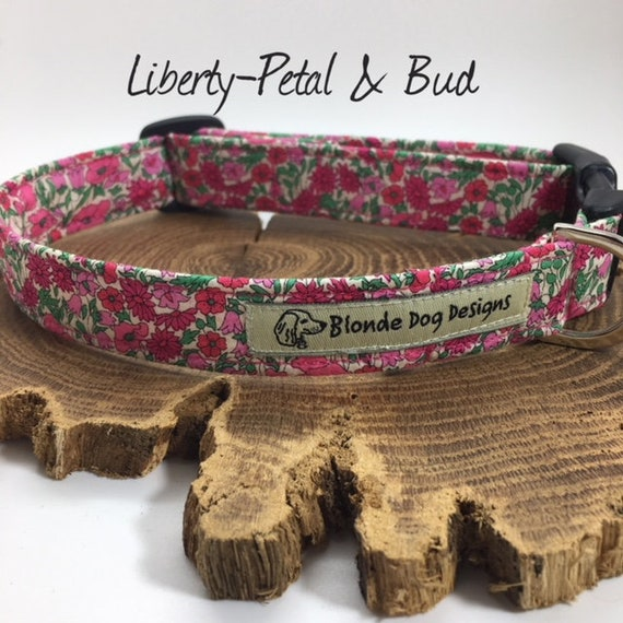 Liberty Dog Collar,Liberty London, Petal & Bud Pink, Floral Dog Collar, Pretty Dog Collar, Luxury Dog Collar