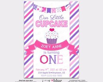 Little Cupcake Birthday Invitation Pink Purple Birthday 1st Girl First Birthday Cupcake Party Invitation - Printable Digital File