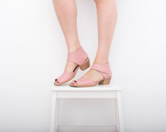 Ankle strap sandals low heel pastel pink Women's Leather Sandals with hook and loop fastener strap handmade adikilav free shipping