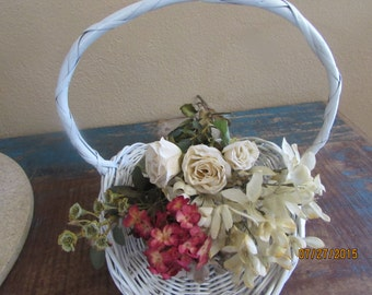 white flower girl vintage gathering basket