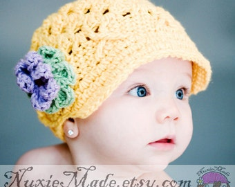 Yellow Toddler Girl Newsboy Hat 6-12 Months, Yellow Hat with Flowers, Baby Yellow Hat, Yellow Baby Hat, Yellow Newsboy, Baby Girl Yellow Hat