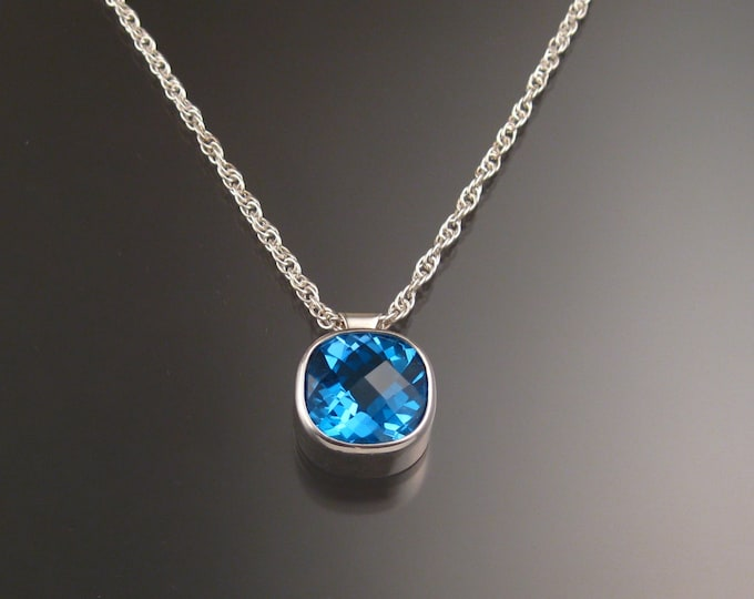 Blue Topaz Cushion shaped checkerboard cut adjustable length Necklace Handmade in Sterling Silver