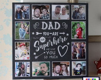 Dad our Superhero framed Canvas Print with 12 pictures