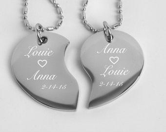 Engraved heart necklace etsy personalized broken heart couples jewelry silver split broken tear drop heart necklace engraved free his and hers necklace split heart aloadofball Gallery