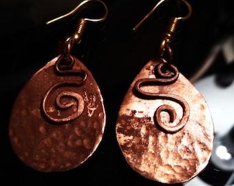 """Copper Earrings: """"Esistenza"""" - Italian Design"""