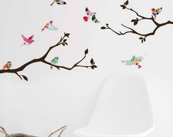 Flower Pattern Birds Tree | Animals Kids Nursery Home Decor | Removable Wall Decal Sticker | MS267PC