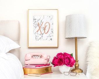 XO - Printable feminine art, xoxo printable, Rose gold print, Fashion Posters, Trending now, Marble art, Gallery wall decor, Rose Gold Art
