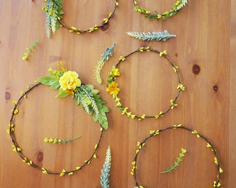 Floral wall hang, flower circlet set of 5, Aisle decor, Yellow flower hoop wall hang, wedding canopy backdrop, woodland decor, Boho wedding
