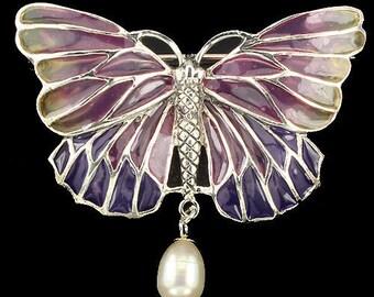 Edwardian Downton Abbey Jewelry 925 Sterling Silver & Pearl Art Nouveau plique-a-jour Enamel Butterfly Brooch/Pendant - Truly Venusian