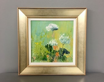 Queen Anne Lace- Wildflower Painting - Original Painting- 8 x 8- Framed- Champagne Frame-Canvas Panel- Fine Art