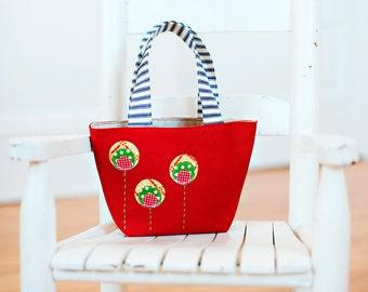 poppy red little girls purse tote handbag applique flowers valentines gift