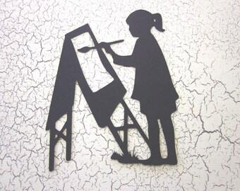 3 Girl Artist Silhouette Die Cuts