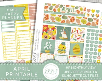 April Monthly Kit Happy Planner, Easter Planner Stickers, Monthly Printable Stickers, Mambi April, Easter Stickers, Bunny Stickers, HPMV121