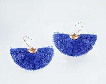 Statement Jewelry Fan Earrings Tassel Fan Earrings Gold Fan Earrings Fan Tassel Earrings Boho Fan Earrings Royal Blue Tassel Earring/CAMILLE