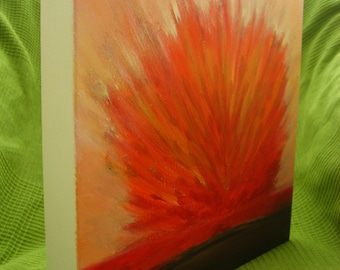 "12x12"" Canvas Art Flower Painting Vivid Abstract Flower Red Orange Golden Flower Acrylic Painting Wall Art Flower Original Art Warm Colors"