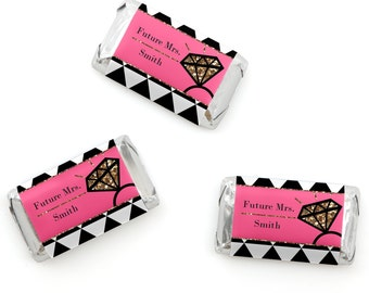 Bachelorette Party Mini Candy Bar Wrappers - Personalized Bachelorette Hershey® Miniature Candy Bar Sticker Labels - Girls Night Out - 20 Ct