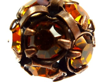 2 Rhinestone balls, beads12mm topaz antique copper