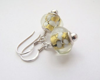 Gold Lined Handmade Glass Rondelle Sterling Silver Earrings