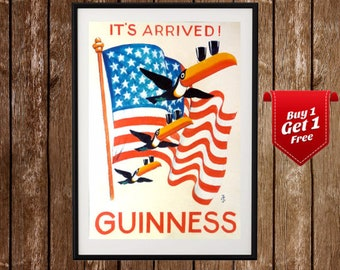 Guinness Toucan - It's Arrived, Vintage Poster, Beer Wall Art, Beer Poster, Vintage Beer Print, Old Guinness Posters, Guinness Posters
