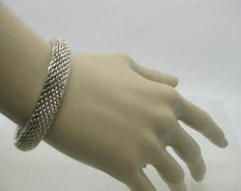 Sterling Silver Woven Cuff Bracelet, 26.32 grams, 10.5mm wide