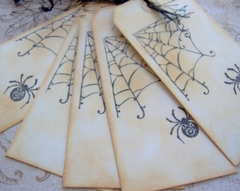 Goth, Grunge or Halloween Spider Vintage Themed Hand Stamped Gift Tags - set of 6