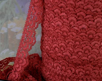 3yds Elastic Lace Trim Stretch Scolloped edge 5/8 inch Burnt Orange Elastic Stretch Lace diy lingerie Headband Single Edge Lace Trim RLzz
