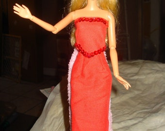 Sequined red long skirt and top set for Fashion Doll - ed71
