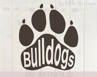 Bulldog paw print, SVG, PNG, DXF files, instant download