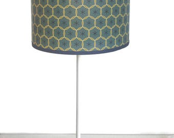 SMALL LAMPSHADE PATTERN VINTAGE BLUE AND LIME GREEN